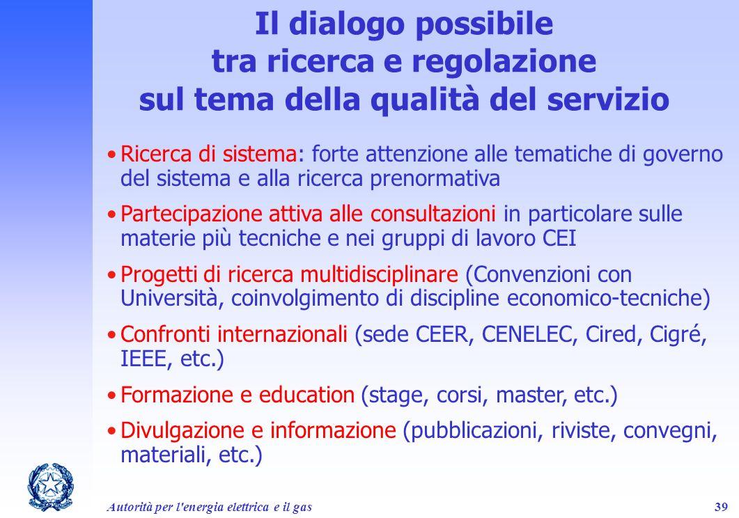 Il dialogo possibile tra ricerca e regolazione sul tema della qualità del servizio