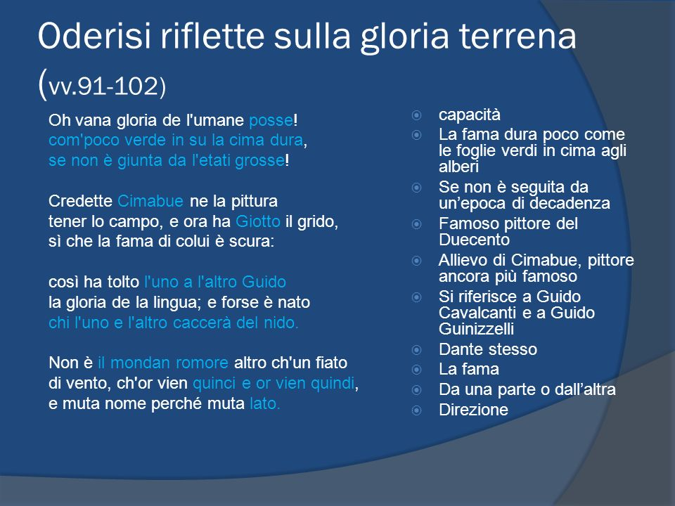 Oderisi riflette sulla gloria terrena (vv.91-102)