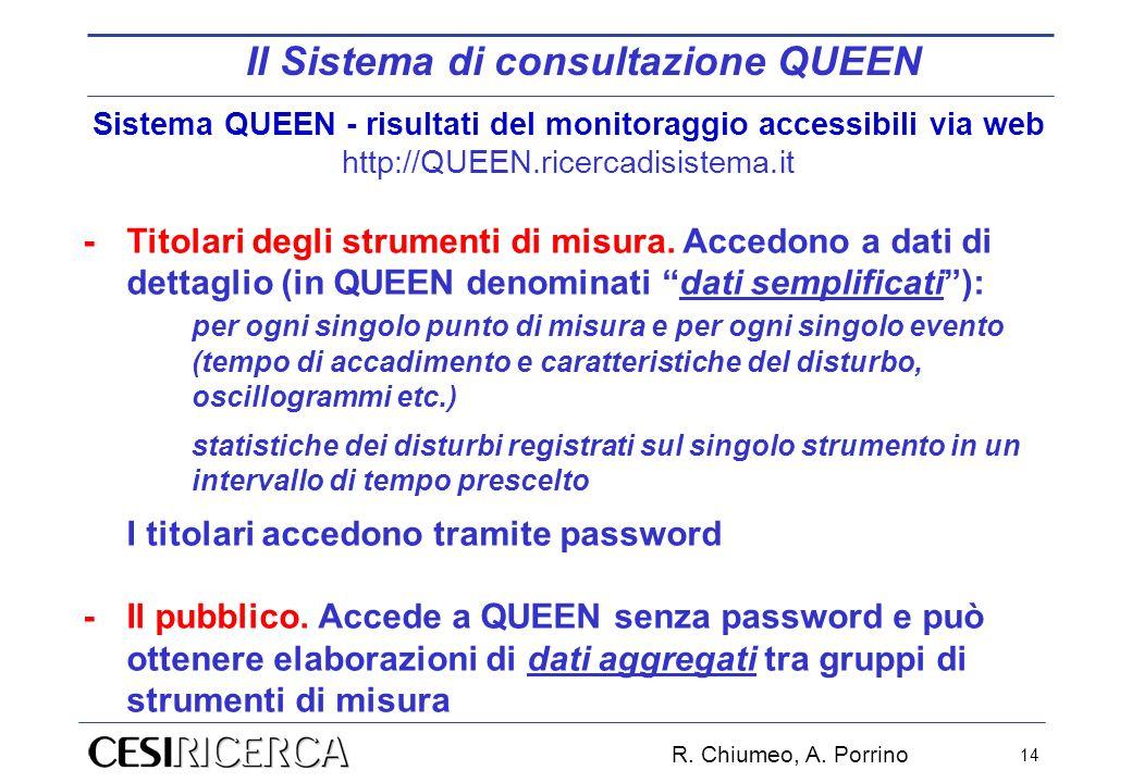 Sistema QUEEN - risultati del monitoraggio accessibili via web