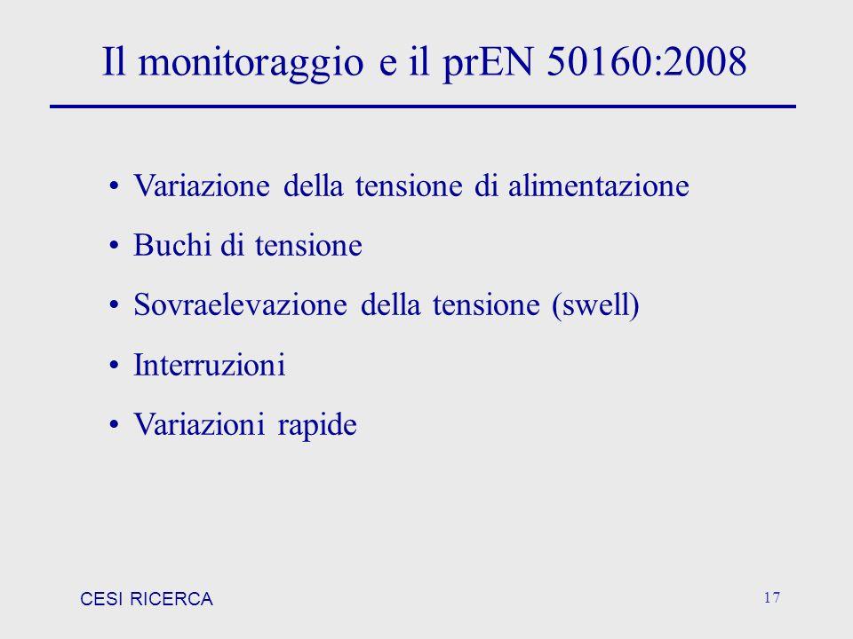 Il monitoraggio e il prEN 50160:2008
