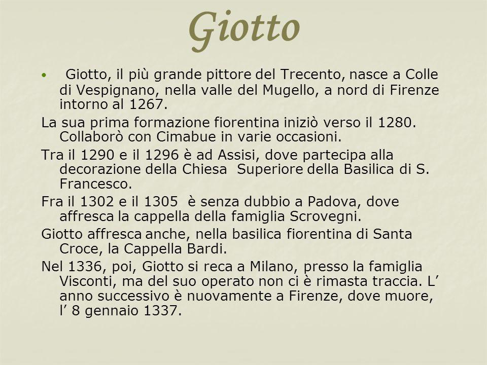 GiottoGiotto, il più grande pittore del Trecento, nasce a Colle di Vespignano, nella valle del Mugello, a nord di Firenze intorno al 1267.