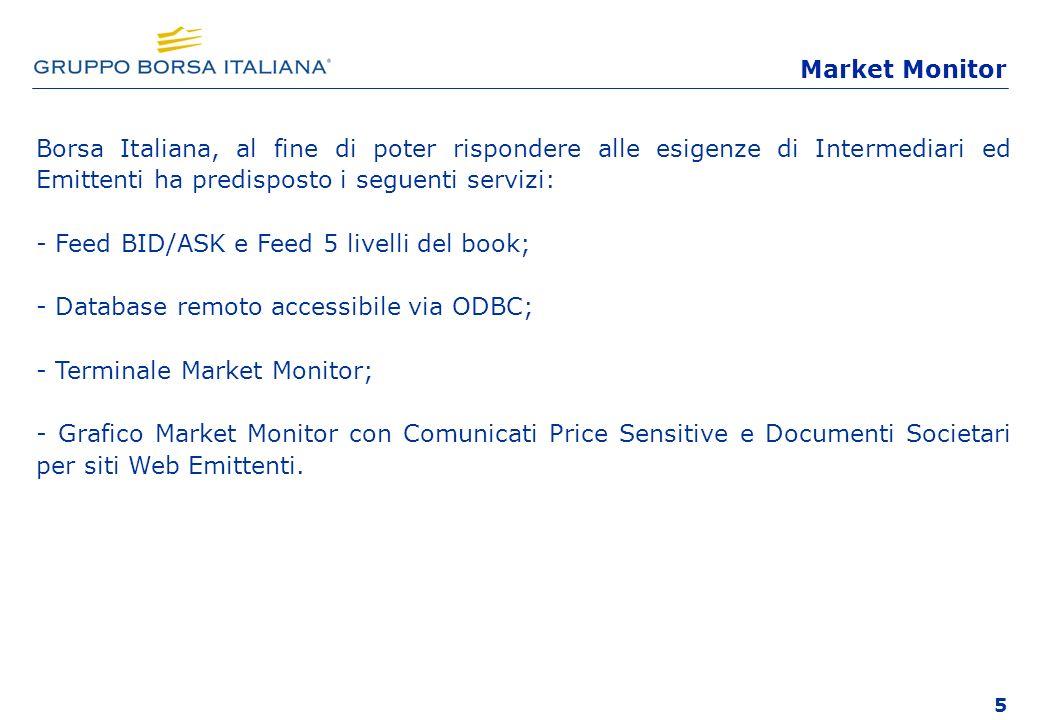 Market Monitor Borsa Italiana, al fine di poter rispondere alle esigenze di Intermediari ed Emittenti ha predisposto i seguenti servizi: