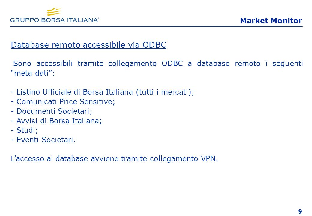 Database remoto accessibile via ODBC