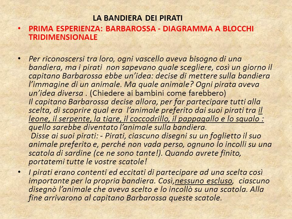 LA BANDIERA DEI PIRATI PRIMA ESPERIENZA: BARBAROSSA - DIAGRAMMA A BLOCCHI TRIDIMENSIONALE.
