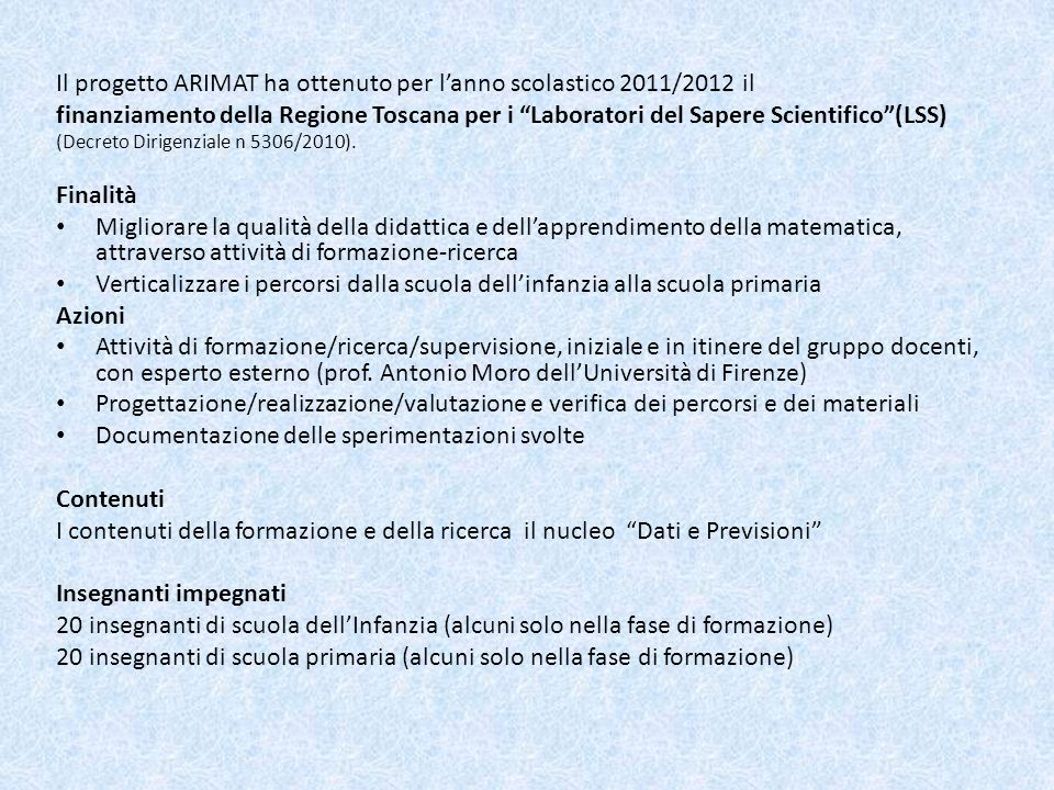 Il progetto ARIMAT ha ottenuto per l'anno scolastico 2011/2012 il