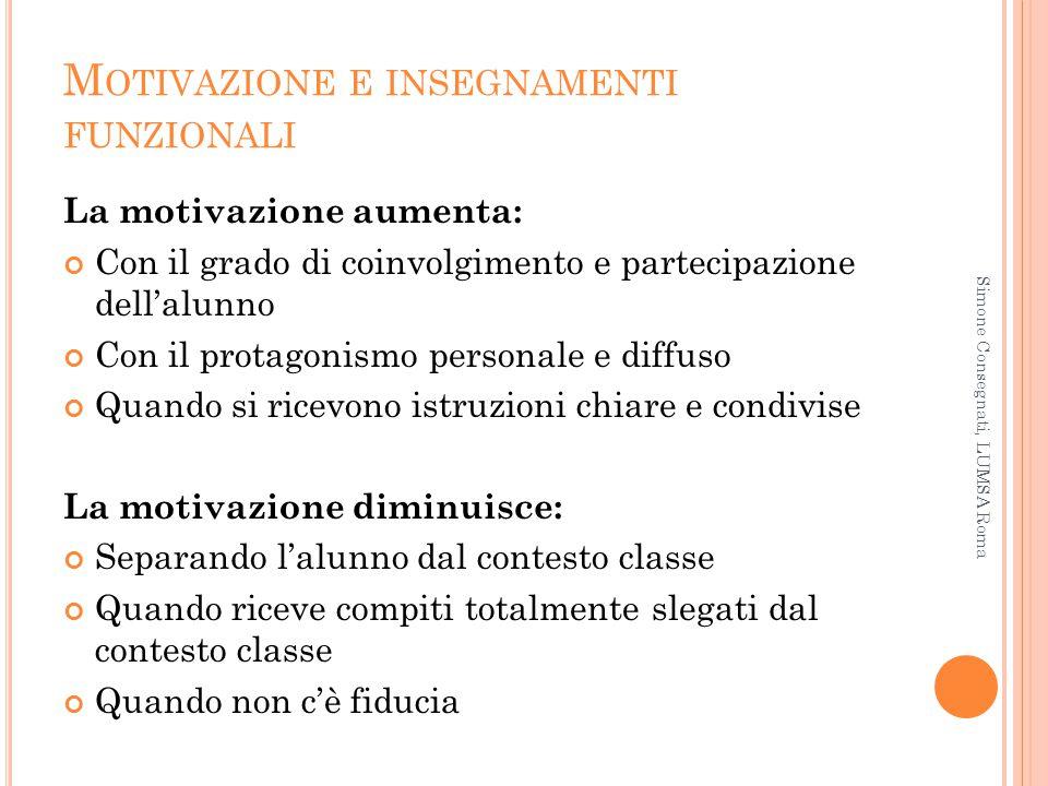 Motivazione e insegnamenti funzionali