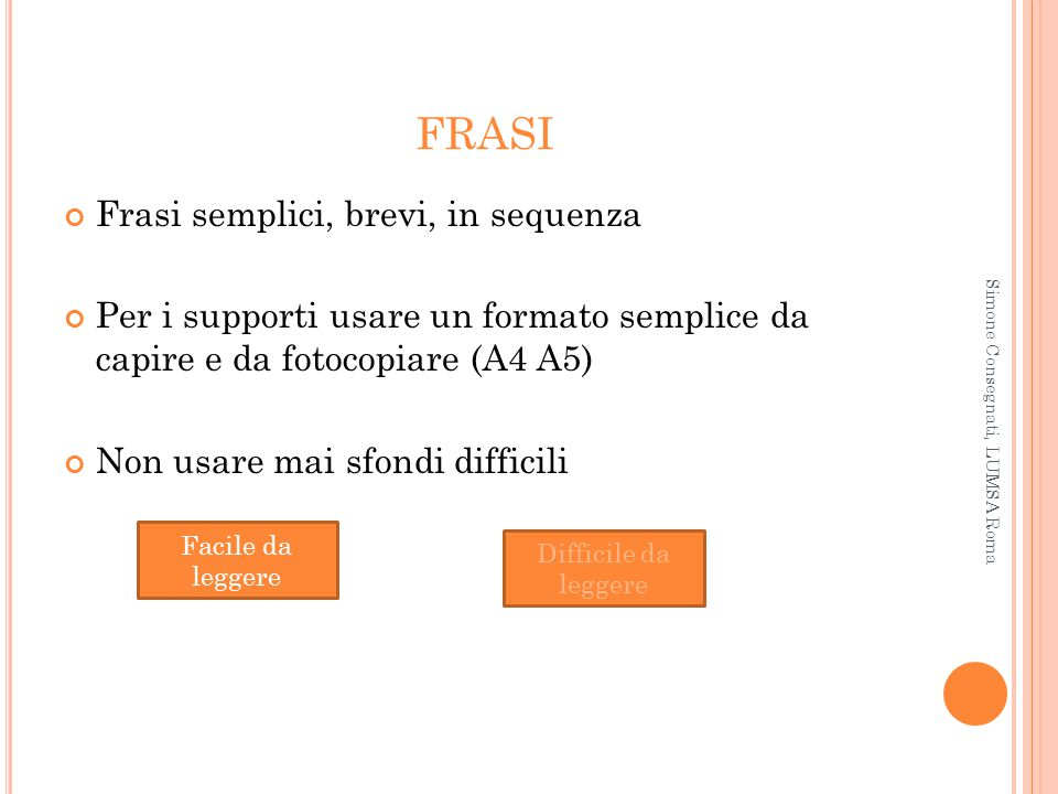 FRASI Frasi semplici, brevi, in sequenza