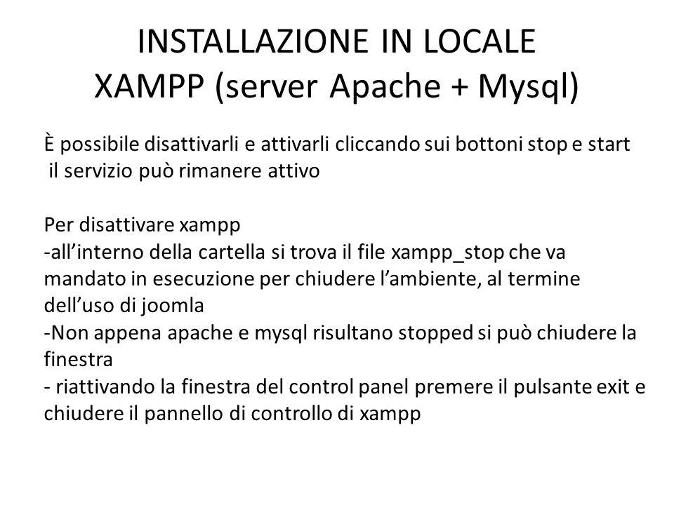 INSTALLAZIONE IN LOCALE XAMPP (server Apache + Mysql)