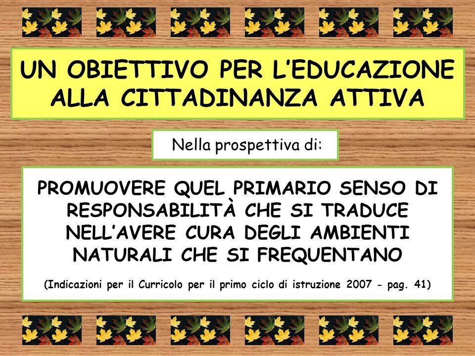UN OBIETTIVO PER L'EDUCAZIONE ALLA CITTADINANZA ATTIVA