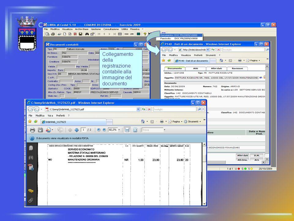Collegamento della registrazione contabile alla immagine del documento
