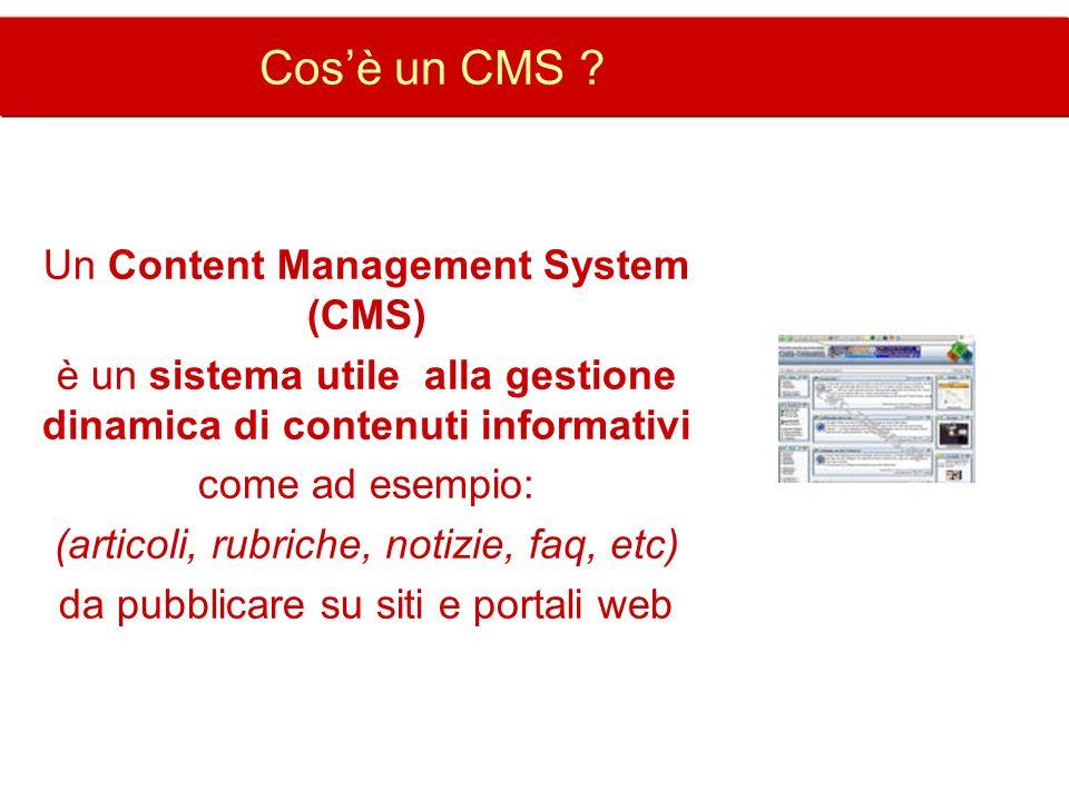 Cos'è un CMS Un Content Management System (CMS)