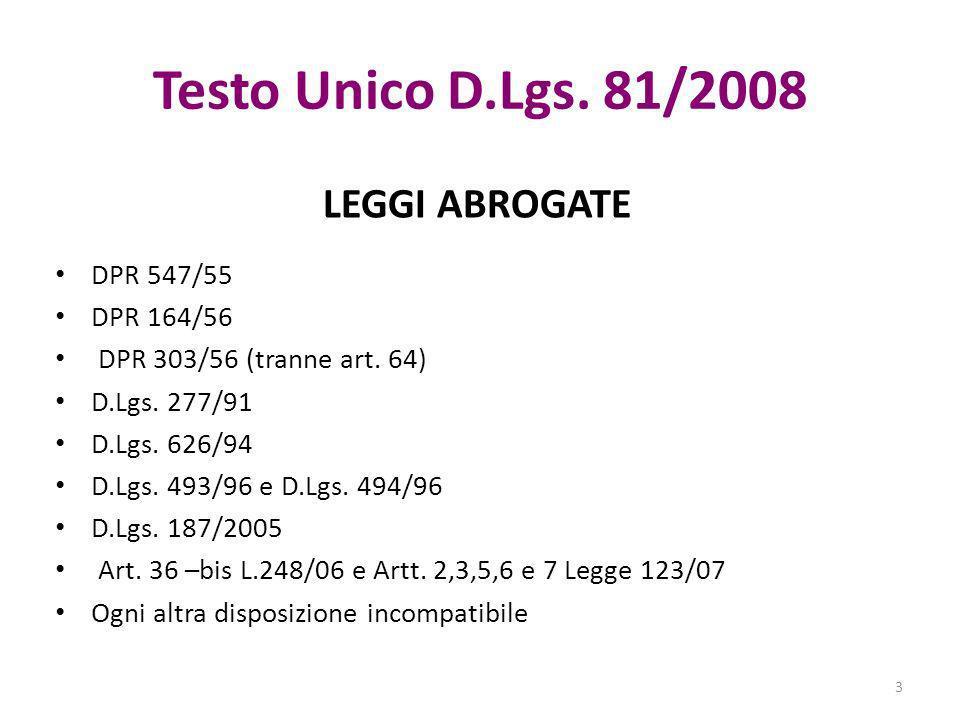 Testo Unico D.Lgs. 81/2008 LEGGI ABROGATE DPR 547/55 DPR 164/56