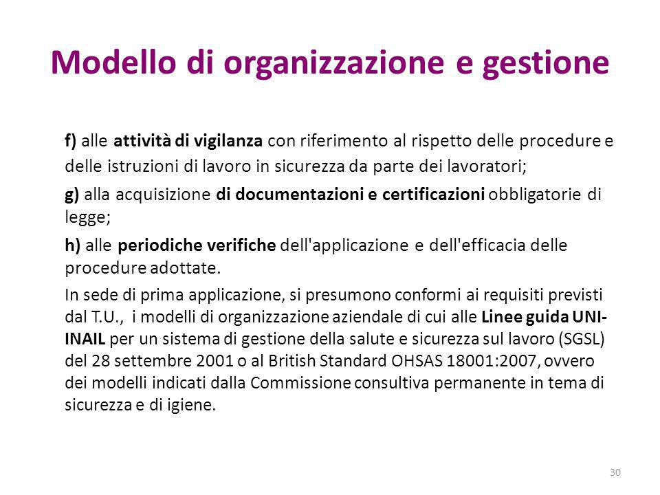 Modello di organizzazione e gestione