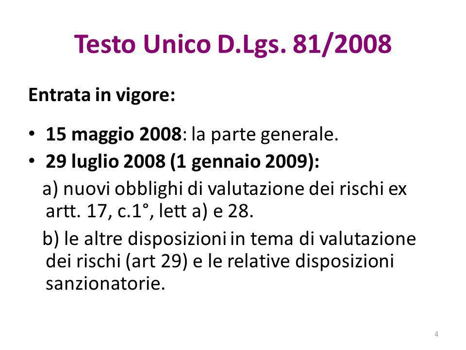 Testo Unico D.Lgs. 81/2008 Entrata in vigore: