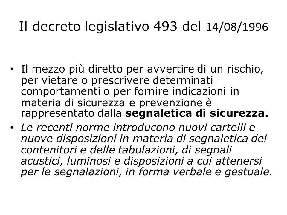 Il decreto legislativo 493 del 14/08/1996