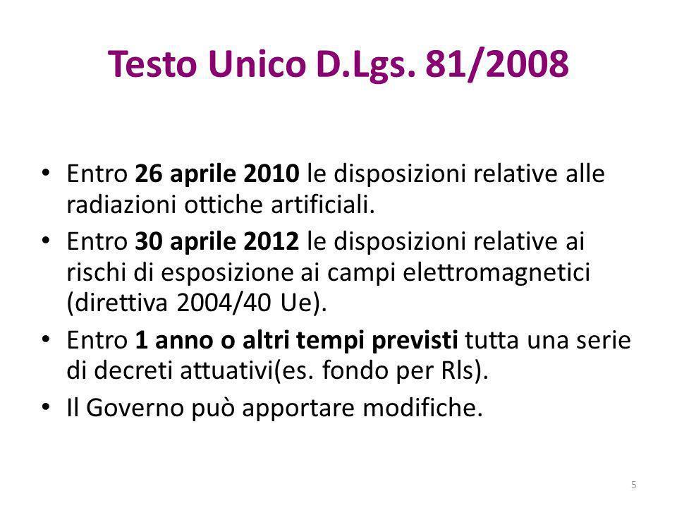 Testo Unico D.Lgs. 81/2008 Entro 26 aprile 2010 le disposizioni relative alle radiazioni ottiche artificiali.