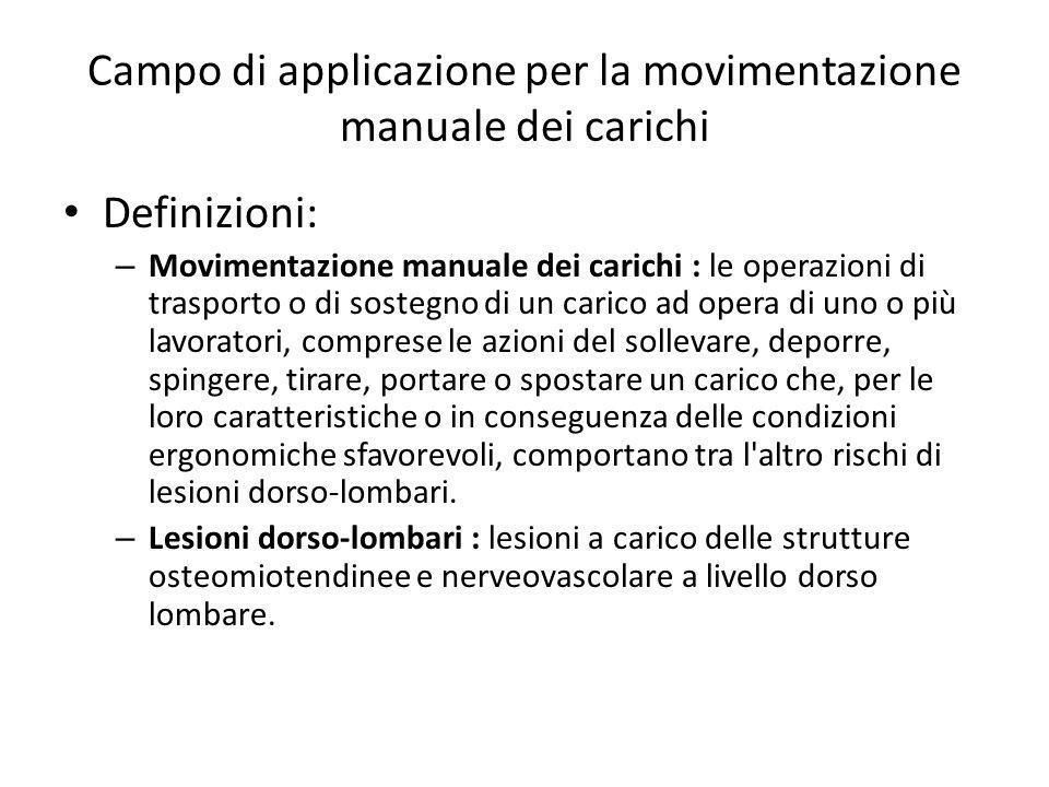 Campo di applicazione per la movimentazione manuale dei carichi