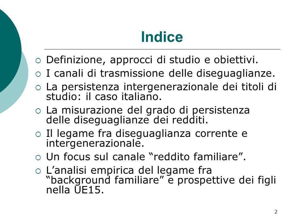 Indice Definizione, approcci di studio e obiettivi.