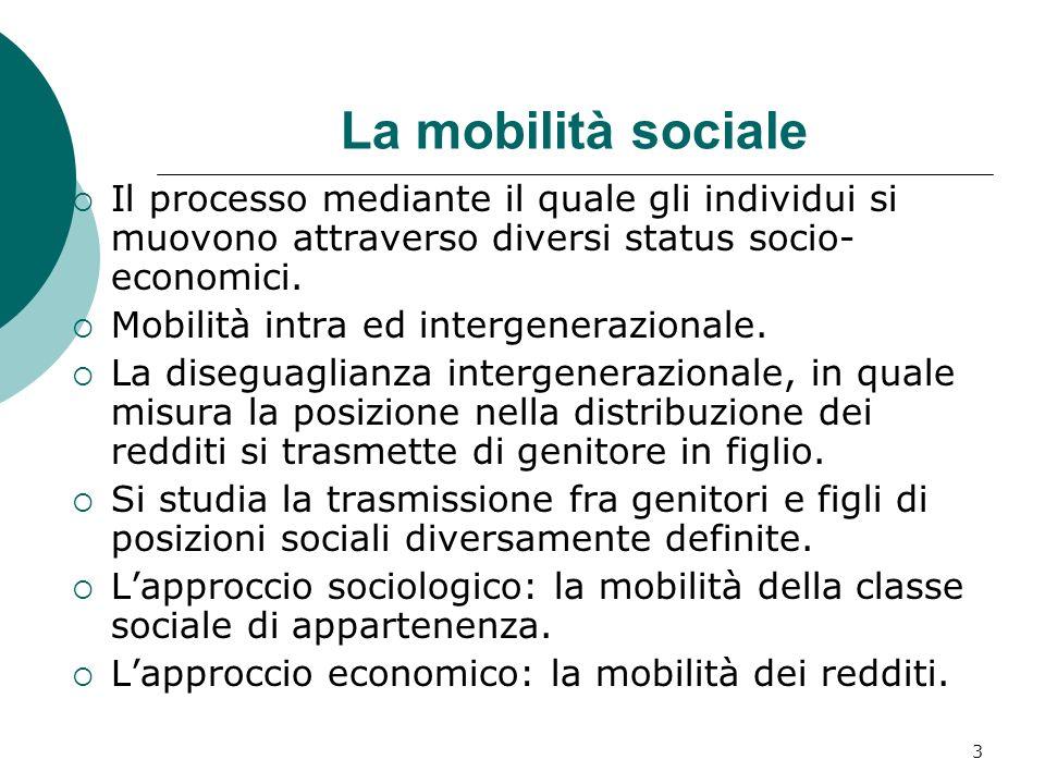 La mobilità sociale Il processo mediante il quale gli individui si muovono attraverso diversi status socio-economici.