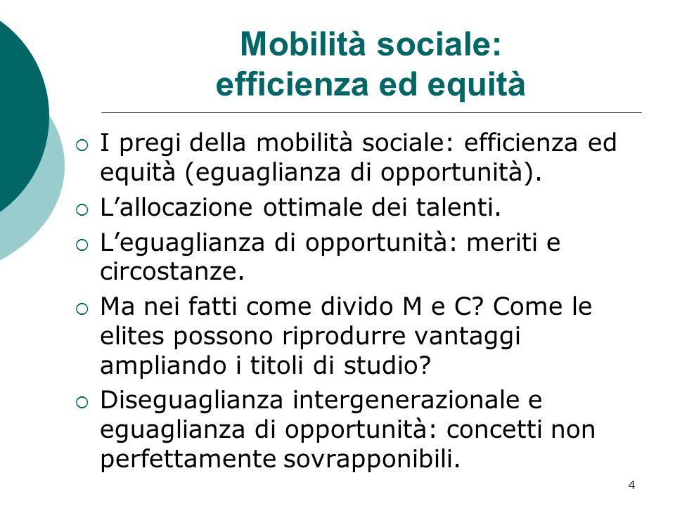 Mobilità sociale: efficienza ed equità