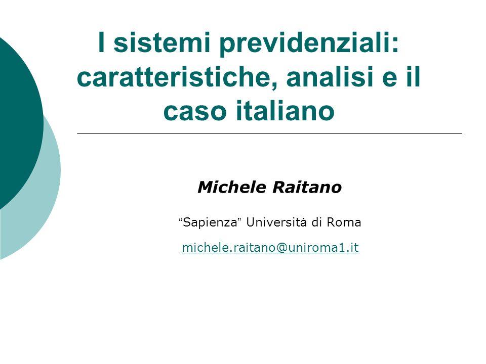 I sistemi previdenziali: caratteristiche, analisi e il caso italiano