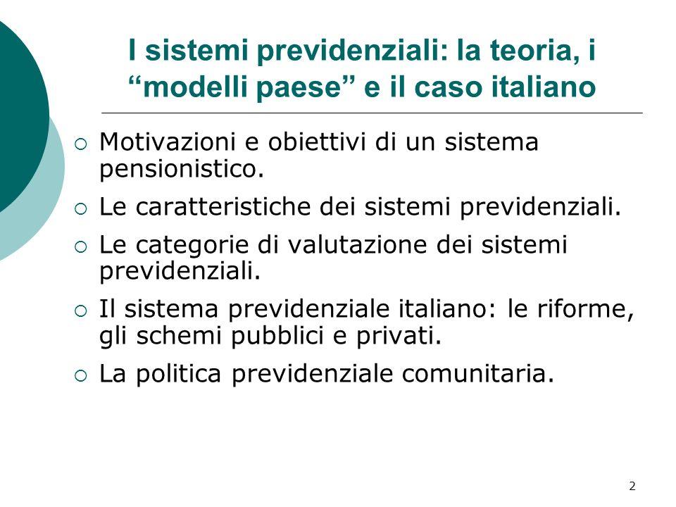 I sistemi previdenziali: la teoria, i modelli paese e il caso italiano