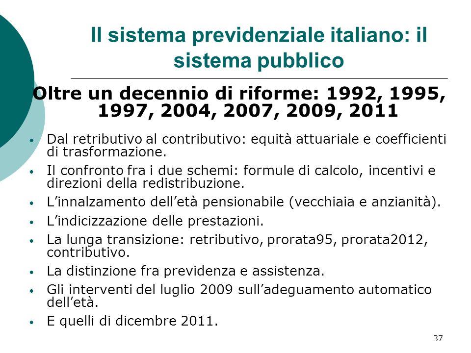 Il sistema previdenziale italiano: il sistema pubblico
