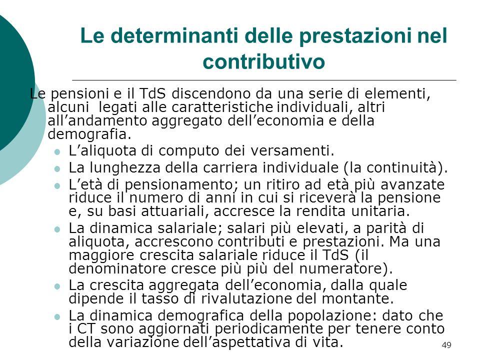 Le determinanti delle prestazioni nel contributivo