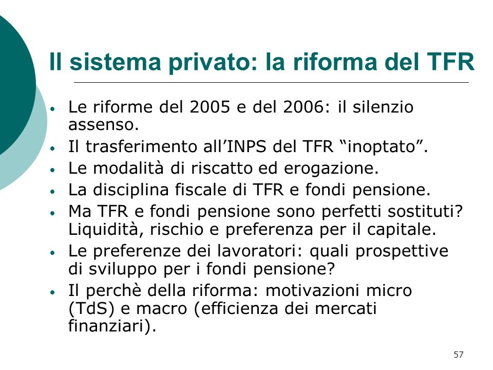 Il sistema privato: la riforma del TFR
