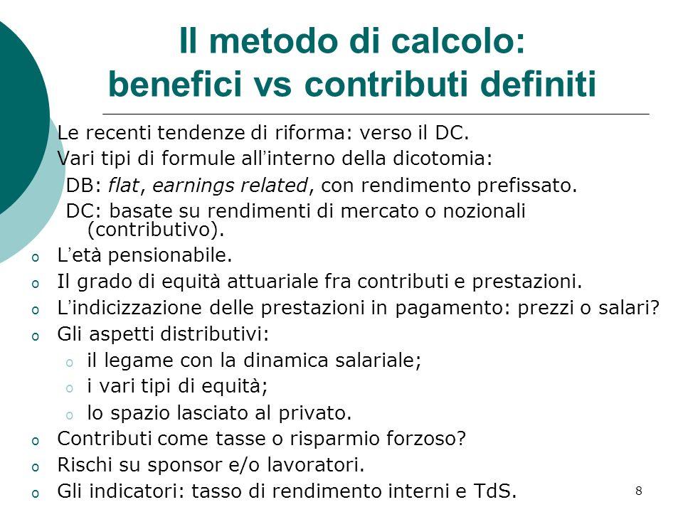 Il metodo di calcolo: benefici vs contributi definiti
