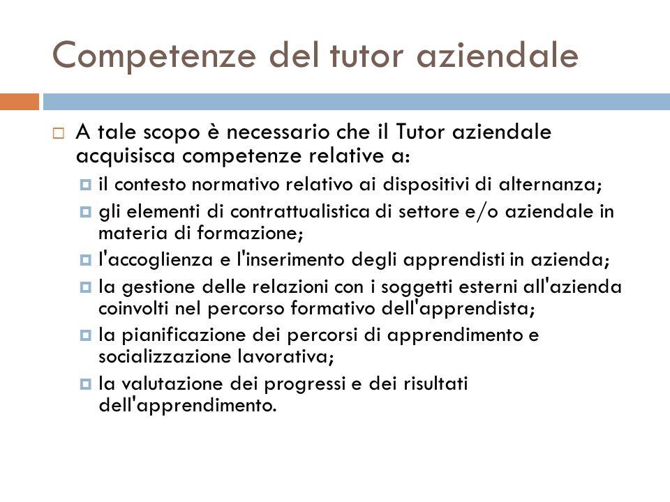 Competenze del tutor aziendale