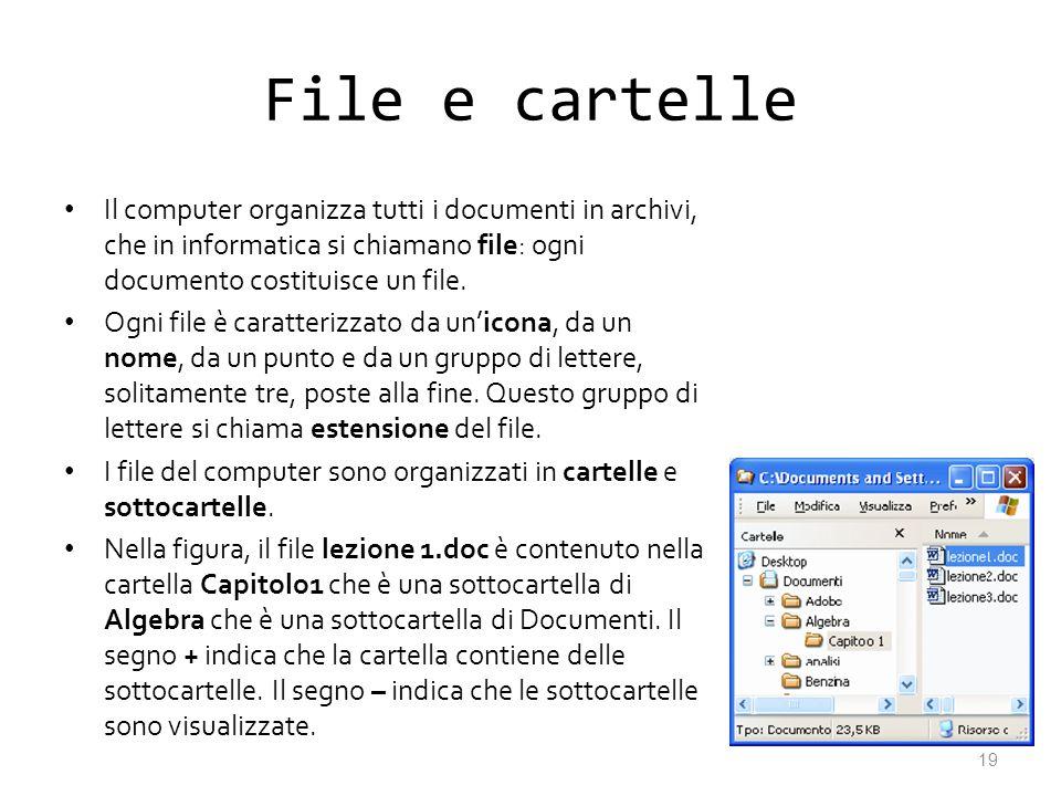 File e cartelleIl computer organizza tutti i documenti in archivi, che in informatica si chiamano file: ogni documento costituisce un file.