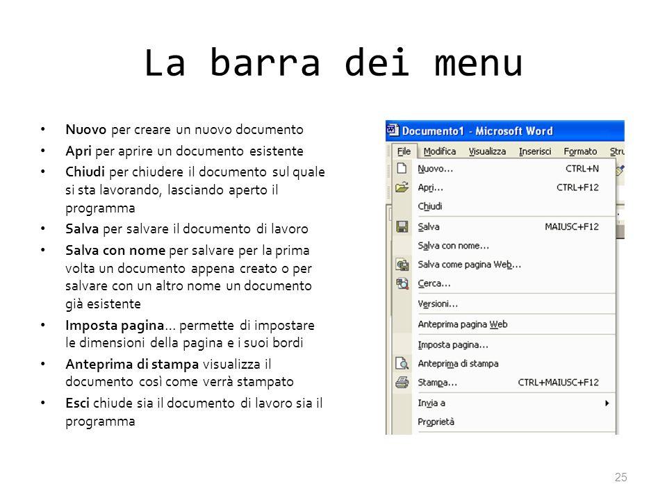 La barra dei menu Nuovo per creare un nuovo documento