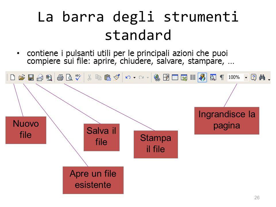 La barra degli strumenti standard