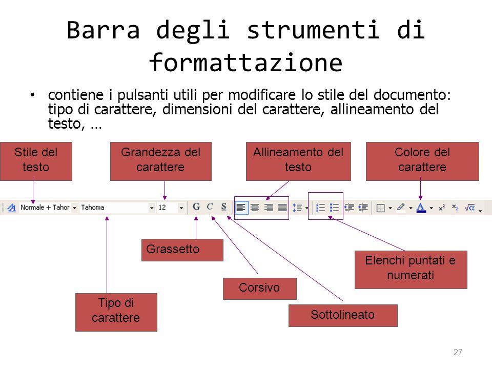 Barra degli strumenti di formattazione