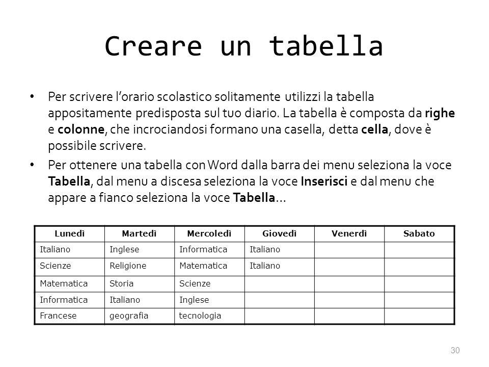 Creare un tabella