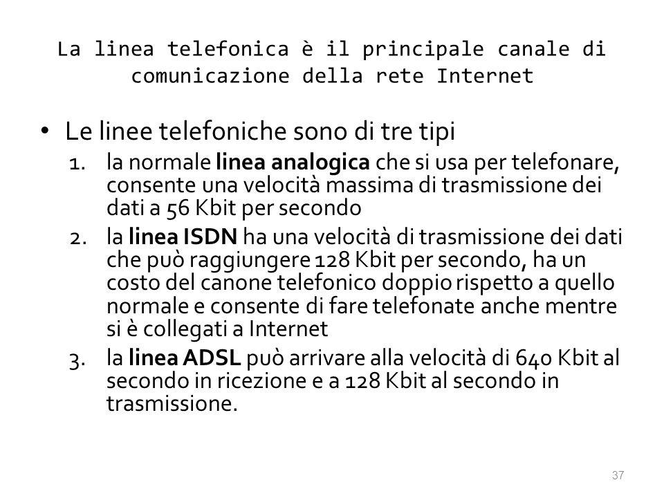 Le linee telefoniche sono di tre tipi