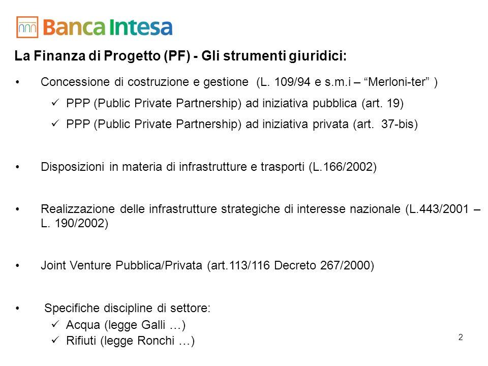 La Finanza di Progetto (PF) - Gli strumenti giuridici: