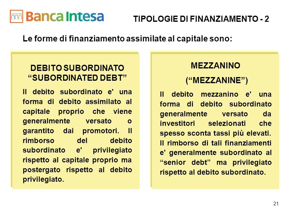 TIPOLOGIE DI FINANZIAMENTO - 2