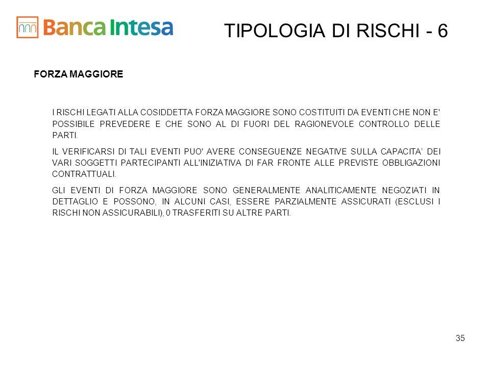 TIPOLOGIA DI RISCHI - 6 FORZA MAGGIORE