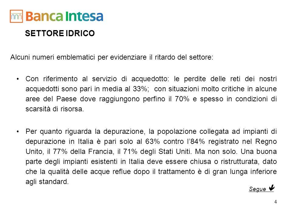 SETTORE IDRICO Alcuni numeri emblematici per evidenziare il ritardo del settore: