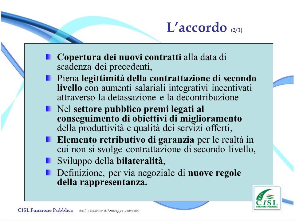 L'accordo (2/3) Copertura dei nuovi contratti alla data di scadenza dei precedenti,