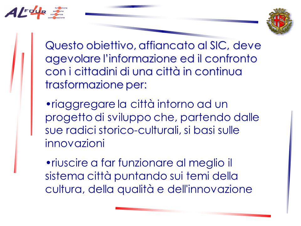 Questo obiettivo, affiancato al SIC, deve agevolare l'informazione ed il confronto con i cittadini di una città in continua trasformazione per: