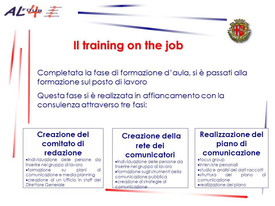 Il training on the job Creazione della rete dei comunicatori