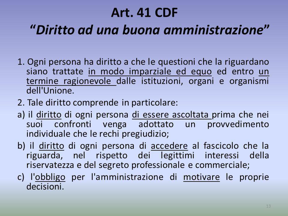 Art. 41 CDF Diritto ad una buona amministrazione