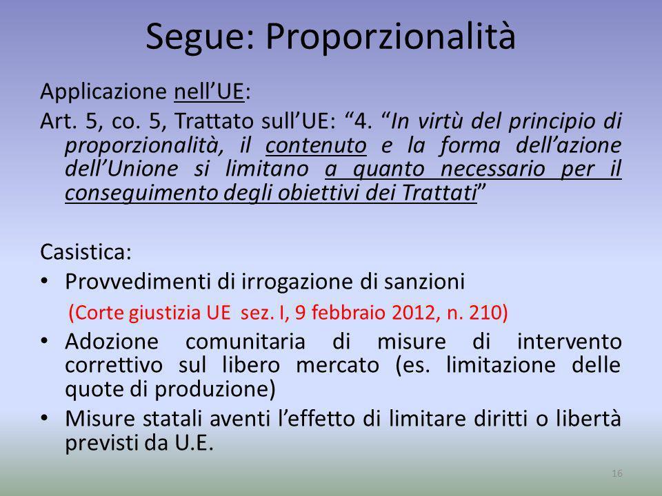 Segue: Proporzionalità