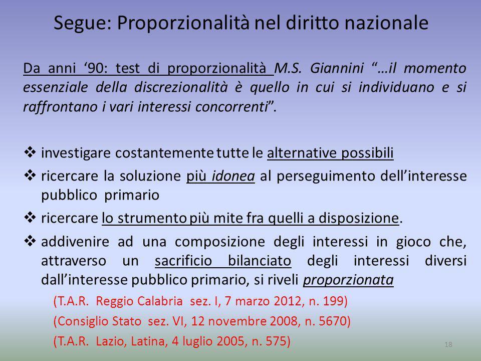 Segue: Proporzionalità nel diritto nazionale