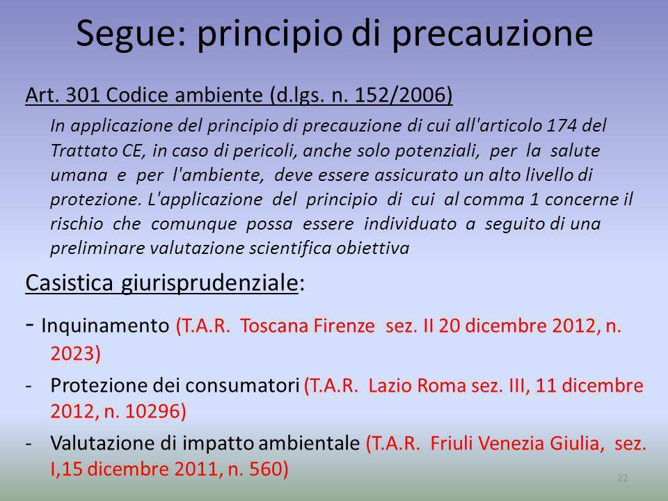 Segue: principio di precauzione