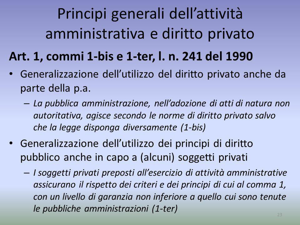 Principi generali dell'attività amministrativa e diritto privato