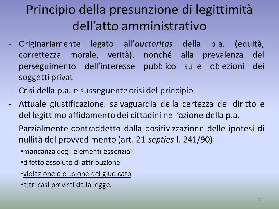 Principio della presunzione di legittimità dell'atto amministrativo